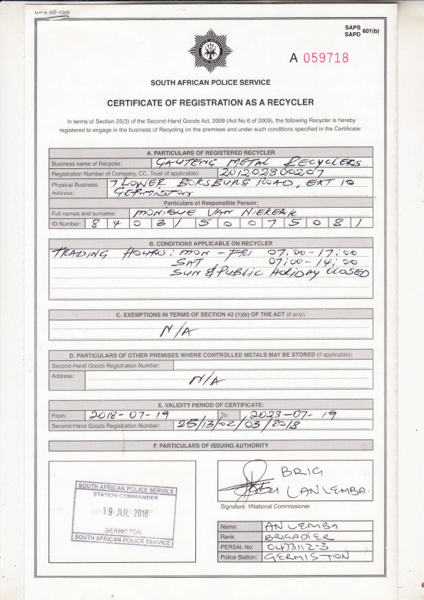 GMR Certificate of Registration as a Recycler & Second-Hand Goods Dealer Cover