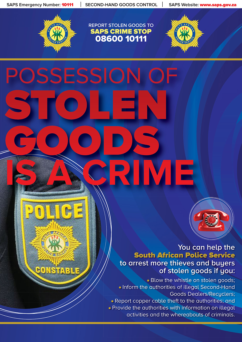 Possession of Stolen Goods is a Crime Poster
