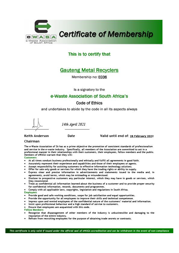 EWASA Certification 2021 Cover